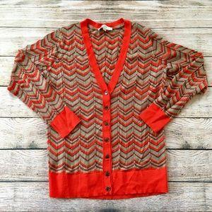 Loft woman's button up chevron sweater sz M